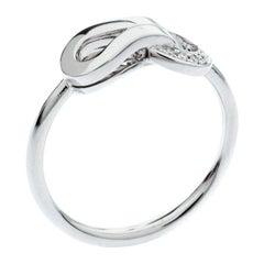 Cartier Agrafe Diamond 18k White Gold Ring Size 50