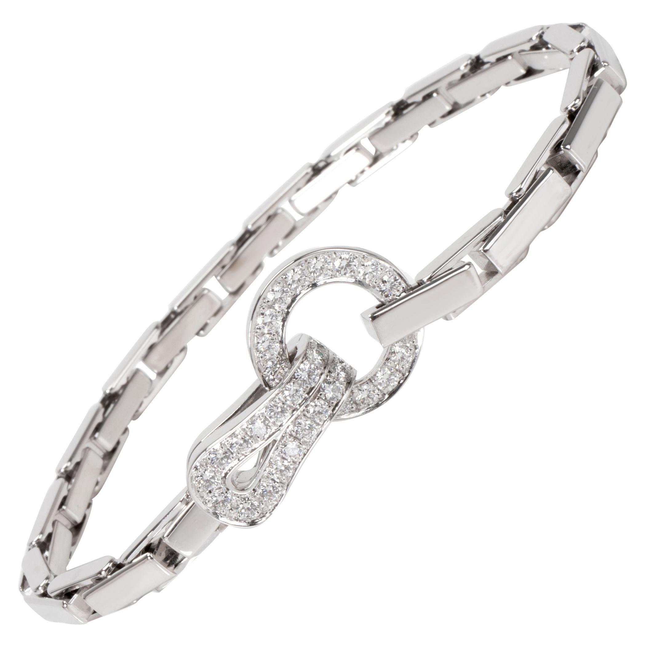 Cartier Agrafe Diamond Bracelet in 18 Karat White Gold 1.13 Carat