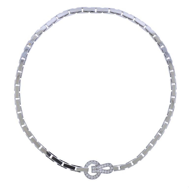 Cartier Agrafe Diamond Gold Necklace For Sale