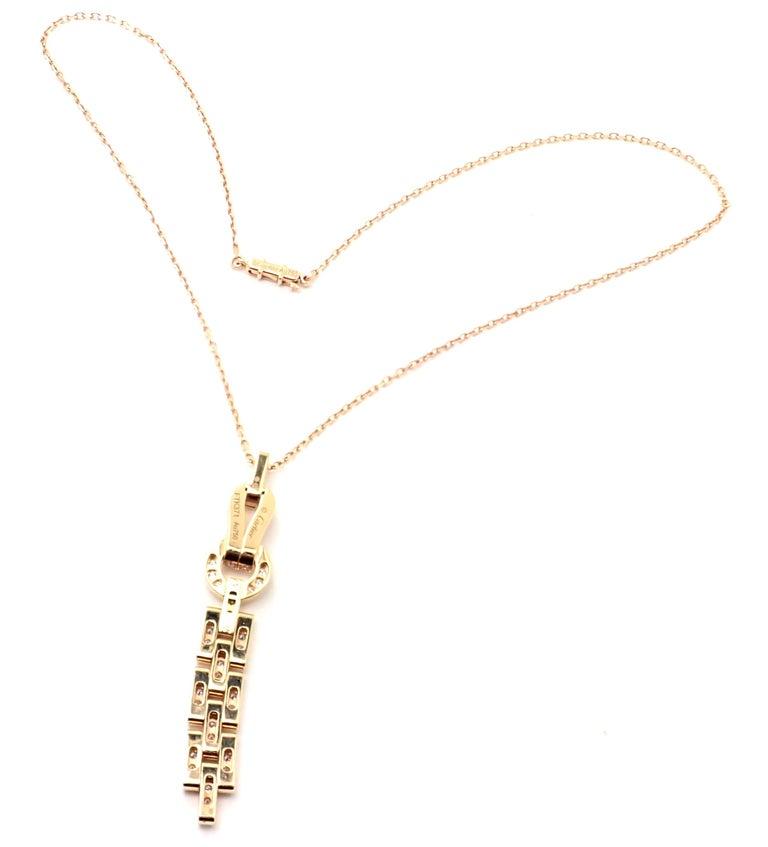 Cartier Agrafe Diamond Rose Gold Pendant Necklace For Sale 3