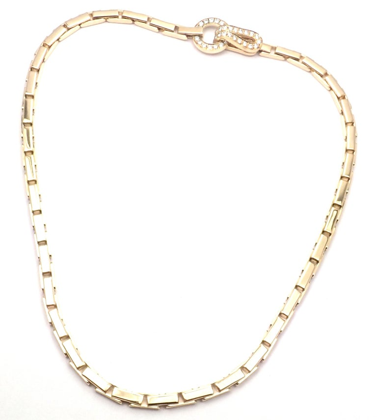 Cartier Agrafe Diamond Yellow Gold Necklace For Sale 3