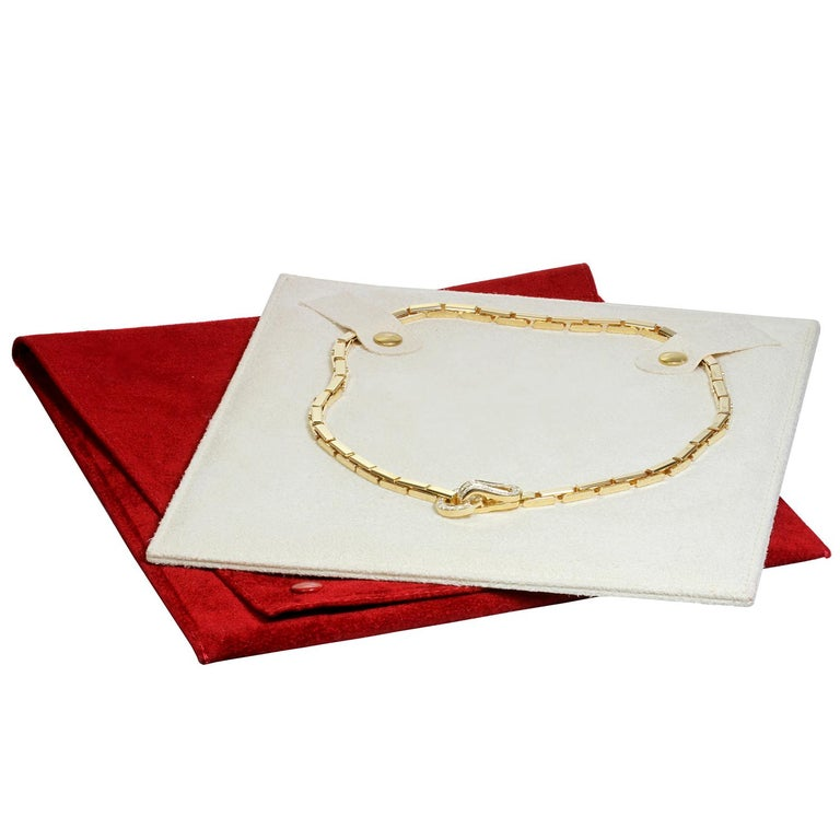 Brilliant Cut Cartier Agrafe Diamond Yellow Gold Necklace For Sale