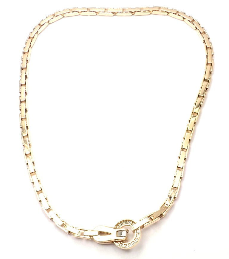 Cartier Agrafe Diamond Yellow Gold Necklace In Excellent Condition For Sale In Holland, PA
