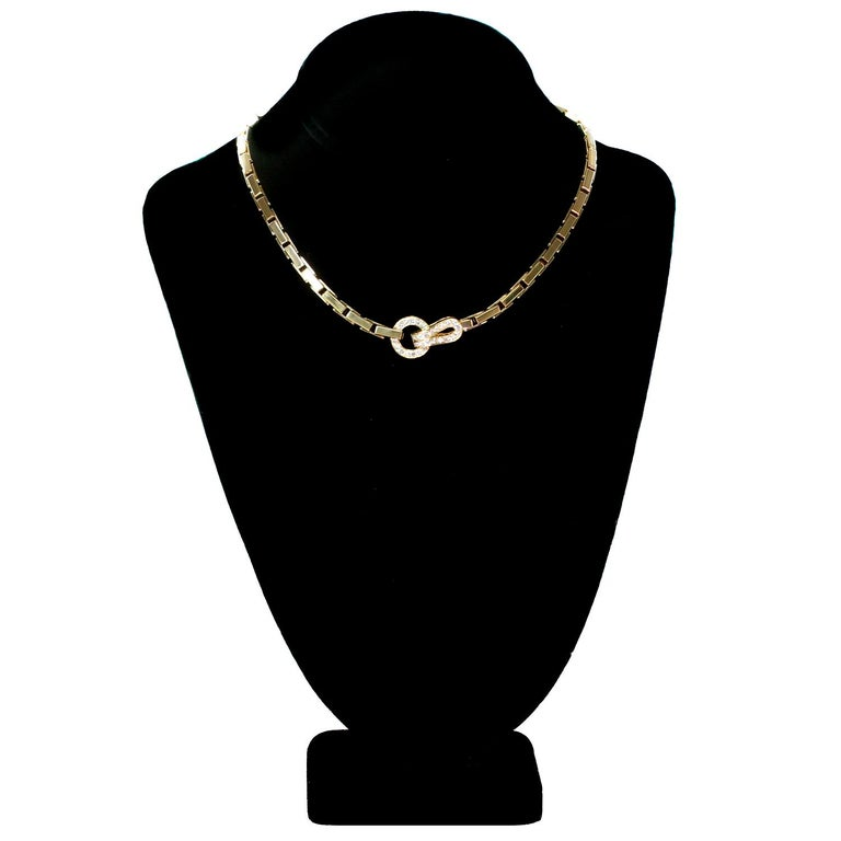 Women's Cartier Agrafe Diamond Yellow Gold Necklace For Sale
