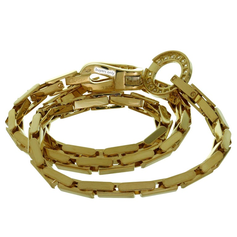 Cartier Agrafe Diamond Yellow Gold Necklace For Sale 1