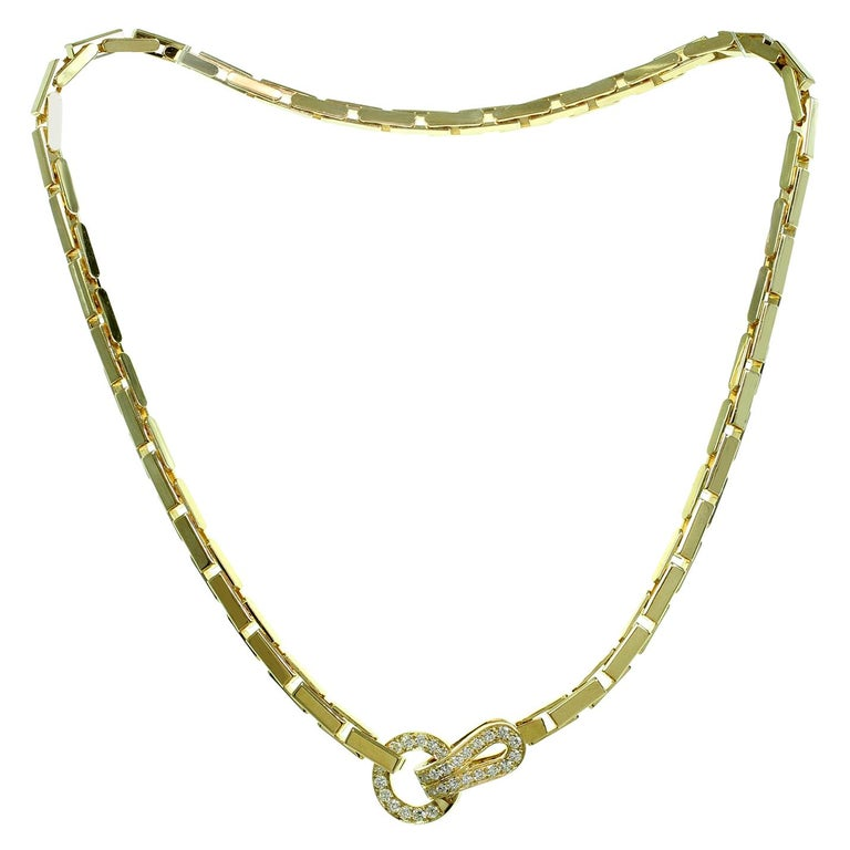 Cartier Agrafe Diamond Yellow Gold Necklace For Sale