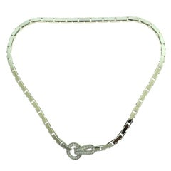 Cartier Agrafe Staple Necklace in White Gold with Diamonds