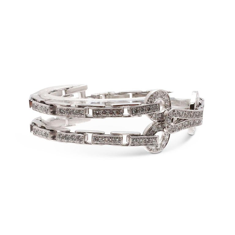 Cartier 'Agrafe' White Gold Diamond Bracelet In Excellent Condition For Sale In New York, NY