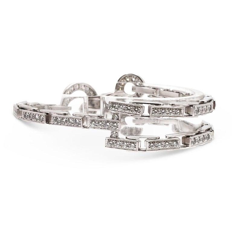 Women's or Men's Cartier 'Agrafe' White Gold Diamond Bracelet For Sale