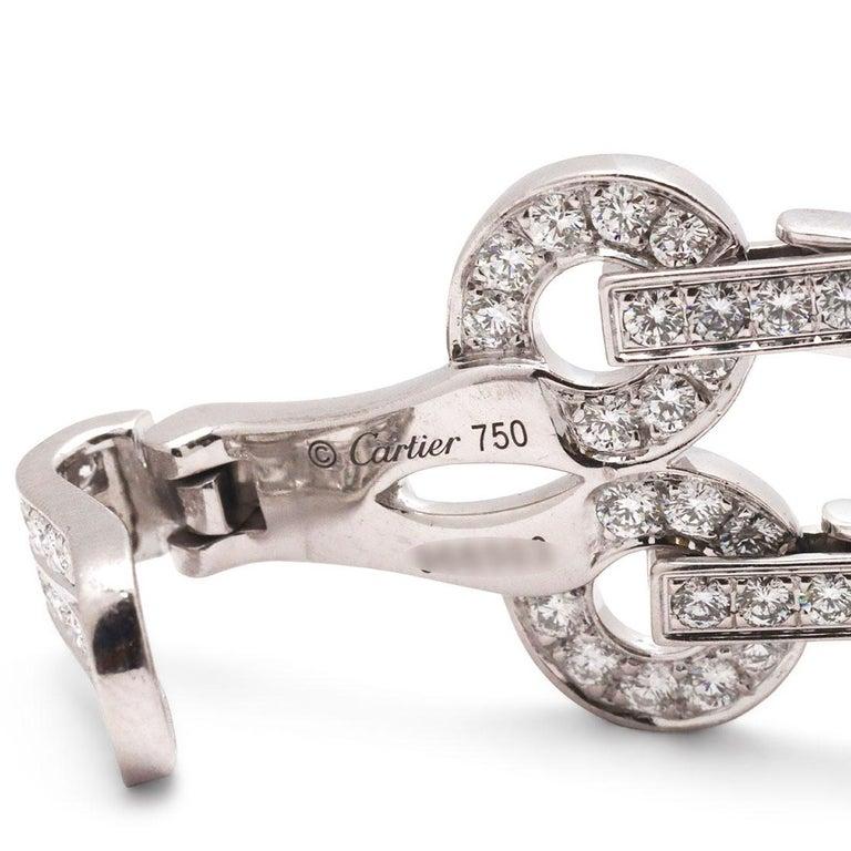 Cartier 'Agrafe' White Gold Diamond Bracelet For Sale 2