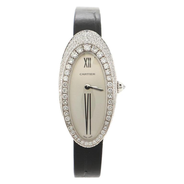 Cartier Alcyone Quartz Watch White Gold and Crocodile with Diamond Bezel 20