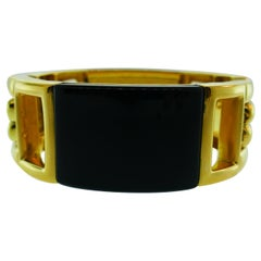 Cartier Aldo Cipullo 18 Karat Yellow Gold and Onyx Bracelet, circa 1970s