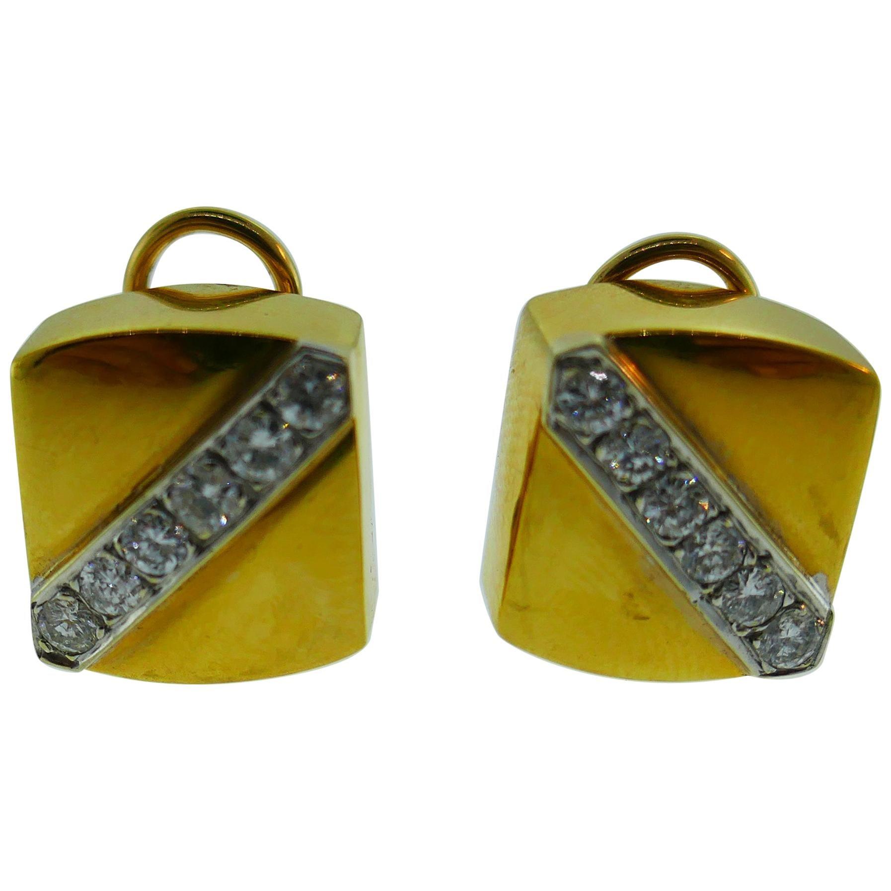 Cartier Aldo Cipullo 18 Karat Yellow Gold & Diamond Earrings circa 1971 Vintage