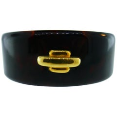 Cartier Aldo Cipullo 18k Yellow Gold & Tortoise Shell Cuff Bangle Bracelet, 1970
