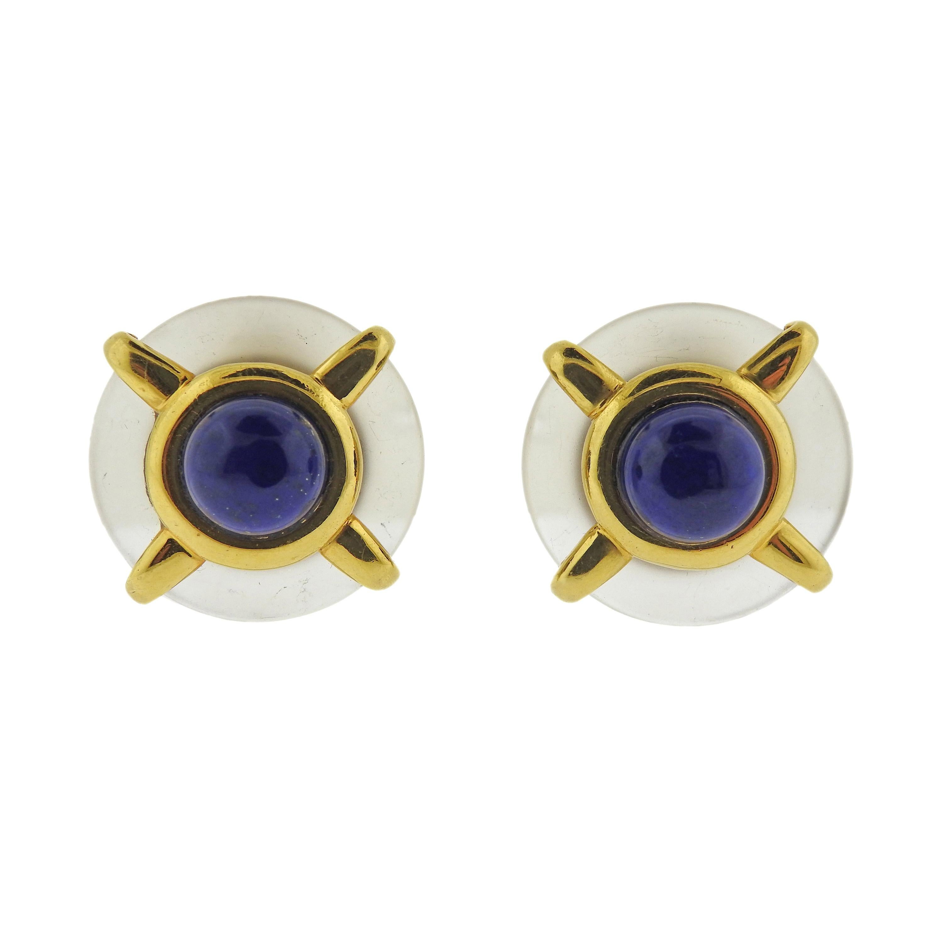 Cartier Aldo Cipullo 1970s Frosted Crystal Lapis Gold Earrings
