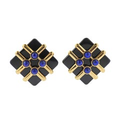 Cartier Aldo Cipullo 1973 Lapis Onyx Gold Earrings