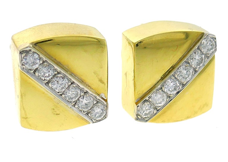 Cartier Aldo Cipullo Diamond Yellow Gold Earrings, 1971 In Good Condition In Beverly Hills, CA