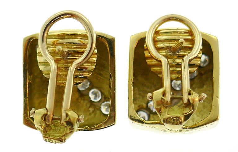 Cartier Aldo Cipullo Diamond Yellow Gold Earrings, 1971 1