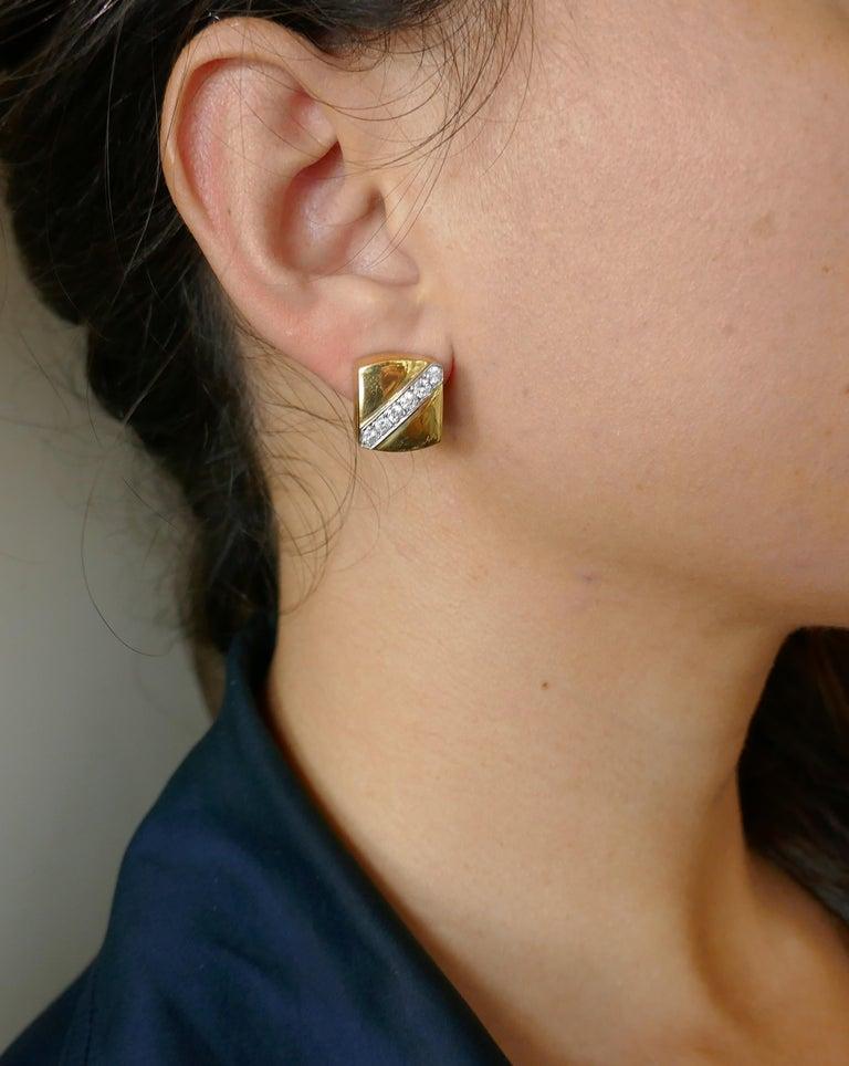 Cartier Aldo Cipullo Diamond Yellow Gold Earrings, 1971 3