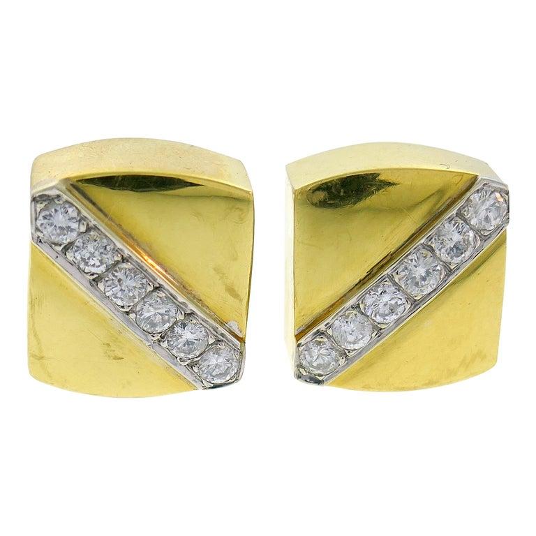 Cartier Aldo Cipullo Diamond Yellow Gold Earrings, 1971