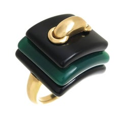 Cartier Aldo Cipullo Large Gold and Stone Ring
