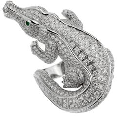 Cartier Alligator Diamond Platinum Cocktail Ring