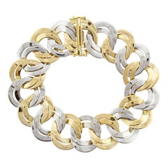 Cartier Alternating White and Gold Link Bracelet