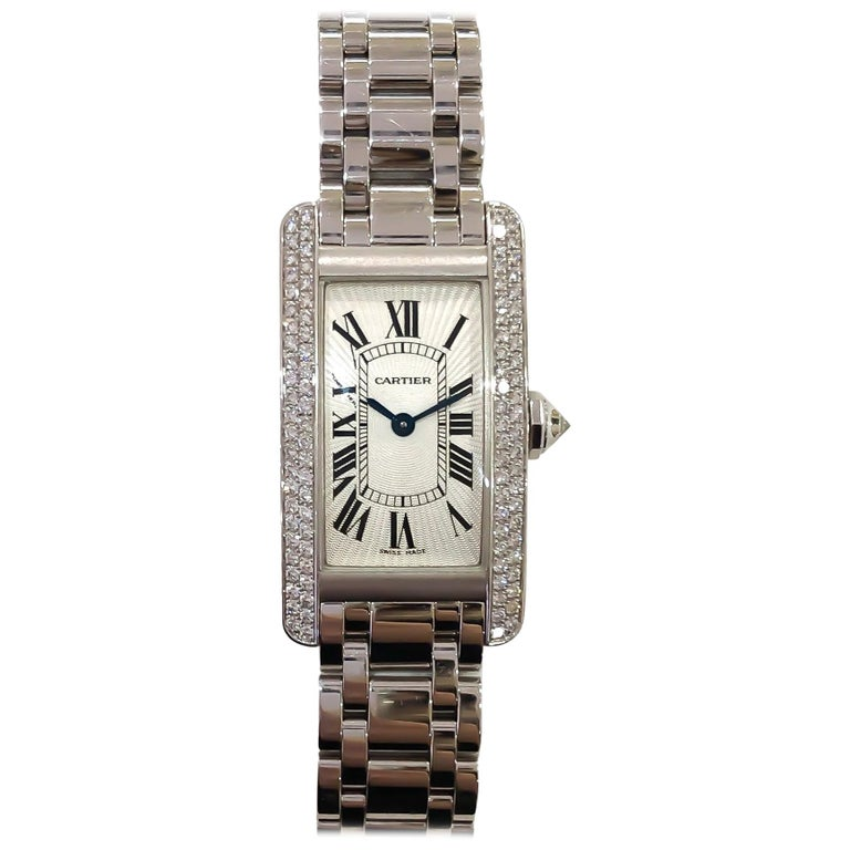 Cartier Americaine Diamond Tank 18 Karat White Gold .85 Carat For Sale