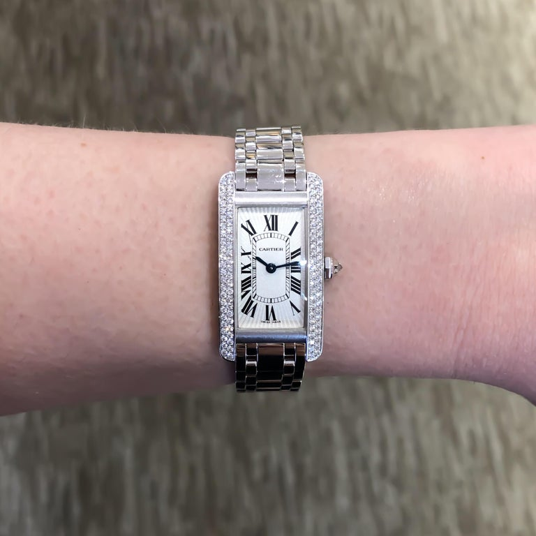 Women's Cartier Americaine Diamond Tank 18 Karat White Gold .85 Carat For Sale