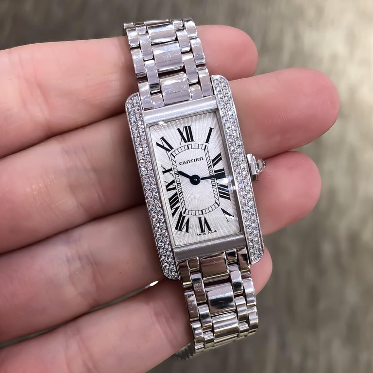 Cartier Americaine Diamond Tank 18 Karat White Gold .85 Carat For Sale 2