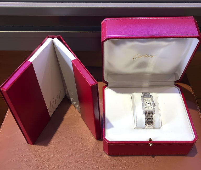 Cartier Americaine Diamond Tank 18 Karat White Gold .85 Carat For Sale 3