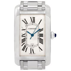 Cartier Americaine Tank W2605511 18 Karat White Gold Silver Dial Automatic Watch