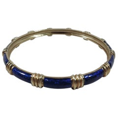 Cartier American 18 Karat Yellow Gold and Blue Enamel Bangle