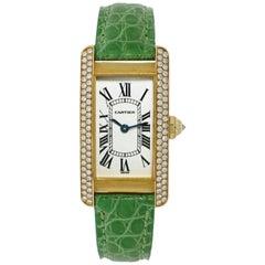 Cartier American Tank Diamond Bezel Yellow Gold Watch