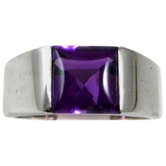"Cartier Amethyst 18 Karat Gold ""Tank"" Ring"