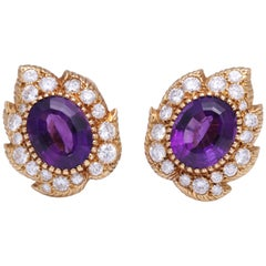 Cartier Amethyst and Diamond Earrings