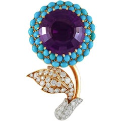 Cartier  Paris Large Round  Diamond Amethyst Turquoise Brooch