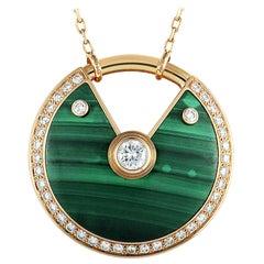 Cartier Amulette 18 Karat Rose Gold Diamond and Malachite Pendant Necklace
