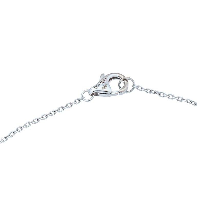 Antique Cushion Cut Cartier Amulette de Cartier Diamond 18K White Gold Pendant Necklace For Sale
