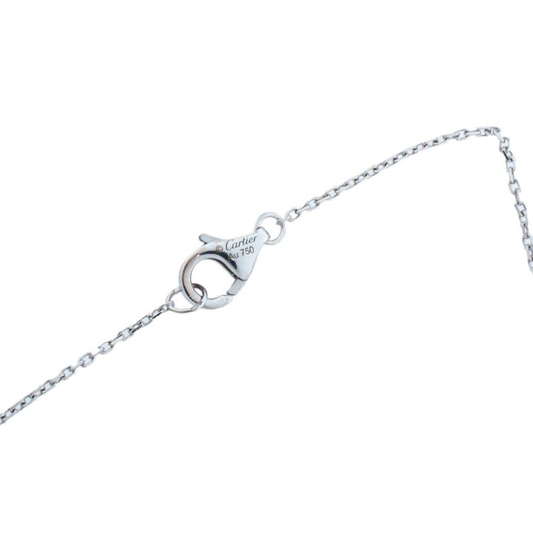 Cartier Amulette de Cartier Diamond 18K White Gold Pendant Necklace In Good Condition For Sale In Dubai, Al Qouz 2