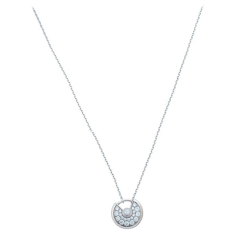 Cartier Amulette de Cartier Diamond 18K White Gold Pendant Necklace For Sale