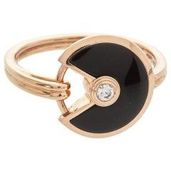 Cartier Amulette de Cartier Diamond Onyx 18K Rose Gold Ring Size 50
