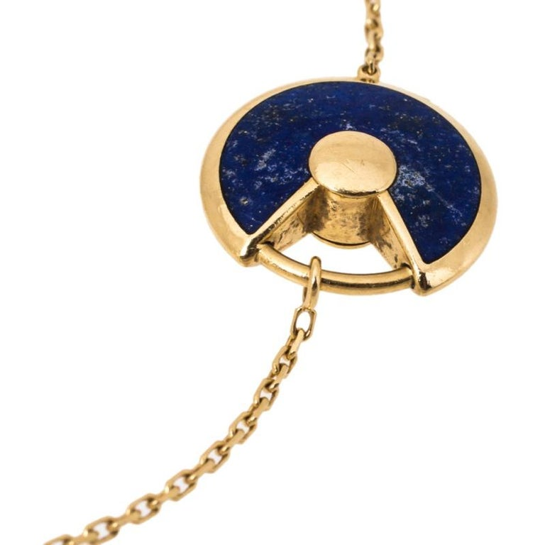 Contemporary Cartier Amulette de Cartier Lapis Lazuli Diamond 18K Yellow Gold Bracelet For Sale