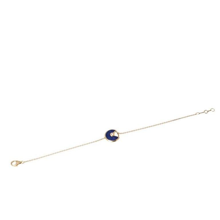 Antique Cushion Cut Cartier Amulette de Cartier Lapis Lazuli Diamond 18K Yellow Gold Bracelet For Sale