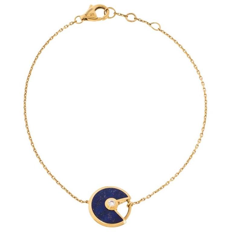 Cartier Amulette de Cartier Lapis Lazuli Diamond 18K Yellow Gold Bracelet For Sale