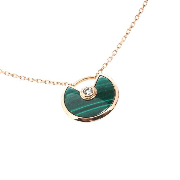 Contemporary Cartier Amulette De Cartier Malachite 18k Rose Gold XS Pendant Necklace For Sale