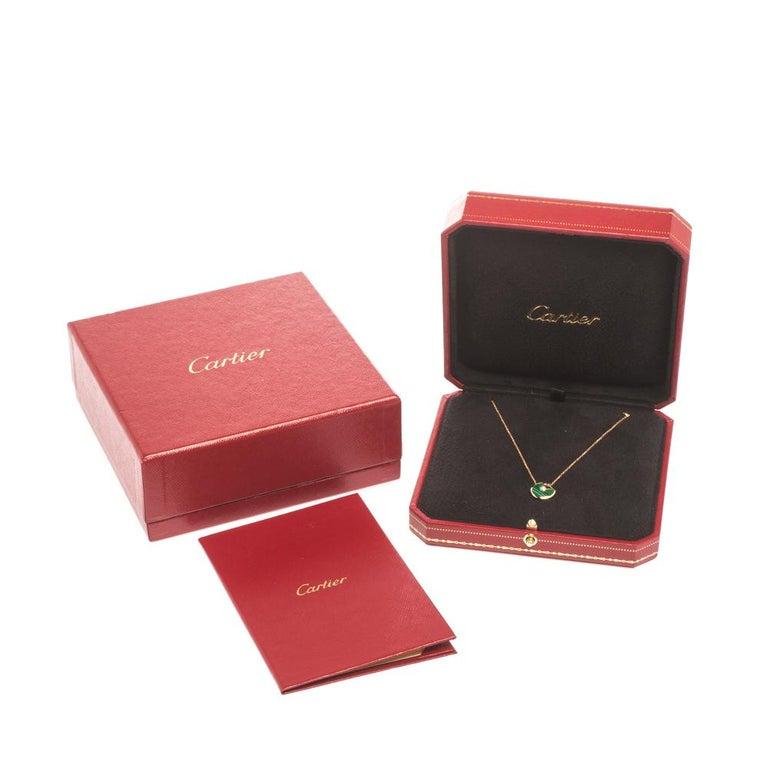 Cartier Amulette De Cartier Malachite 18k Rose Gold XS Pendant Necklace For Sale 1