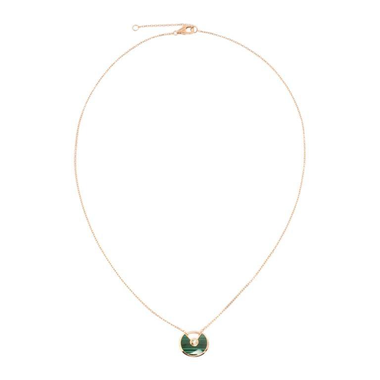 Cartier Amulette De Cartier Malachite 18k Rose Gold XS Pendant Necklace For Sale