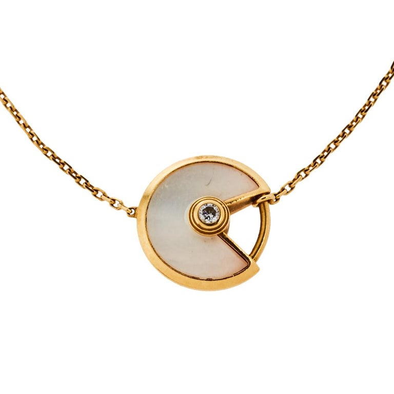 Uncut Cartier Amulette de Cartier Mother of Pearl Diamond 18K Yellow Gold XS Bracelet For Sale
