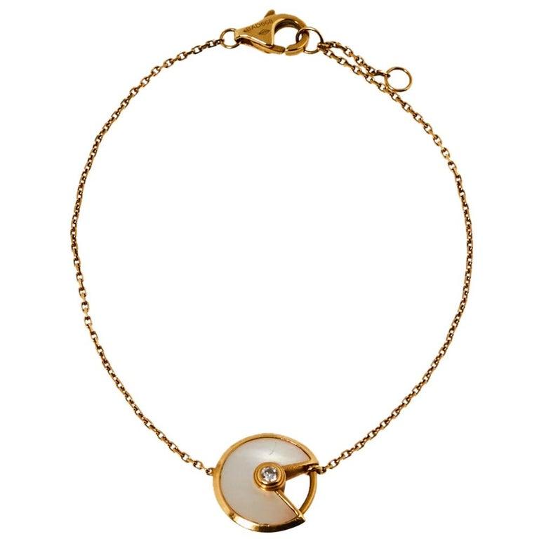 Cartier Amulette de Cartier Mother of Pearl Diamond 18K Yellow Gold XS Bracelet For Sale